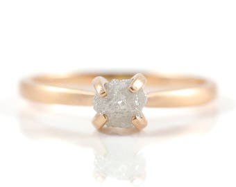 Brushed Gold Ring with White Raw Diamond - 14K Rose Gold Engagement Ring - Conflict Free Solitaire Ring - Matte Finish, Antique