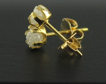 Rough Diamond Earrings - 14K Gold Filled Ear Stud, 4mm - White Raw Uncut Diamonds - Conflict Free Natural Diamonds