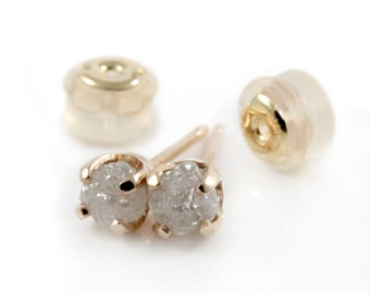 3.5mm White Raw Diamond Studs - 14K Yellow Gold Studs with Rough Diamonds - Gold Posts - Ear Studs