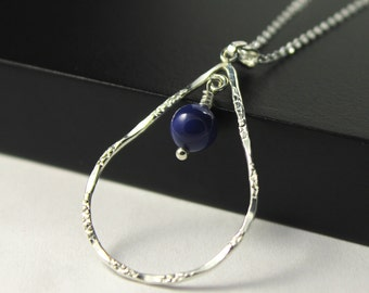 Teardrop Necklace with Swarovski Pearl - Sterling Silver- Hammered Textured Teardrop Pendant - Blue Dark Lapis Swarovski Crystal Pearl