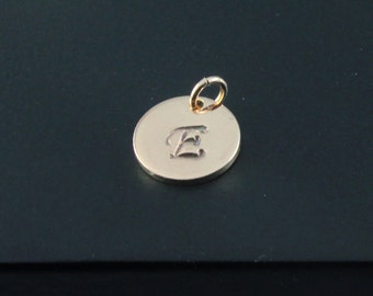 Add On Tag in 14K Rose Gold Filled - Initial Disk - Personalized Initial Tag