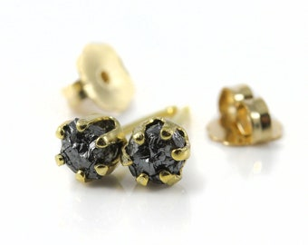 3.5mm Rough Diamonds Studs - 14K Gold Filled Post Earrings - Conflict Free Natural Raw Diamonds Unfinished - Gold Earstuds