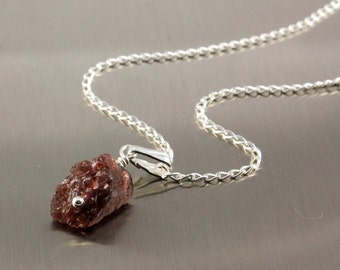 Garnet Necklace - Mother's Day Gift - Single Raw Garnet Sterling Silver Necklace - Rough Garnet Natural Stone