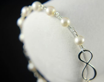 Infinity Bracelet in Silver - Figure Eight Charm - White Freshwater Pearls - Bridesmaid Jewelry - June Birthstone
