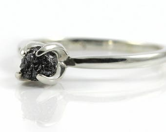 Black Rough Diamond Ring - Silver Ring - Raw Diamond Engagement Ring - Wedding - April Birthstone