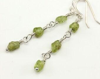 Peridot Earrings on Sterling Silver - Triple Peridot Stones Irregular Shape - Green Gemstone Earrings