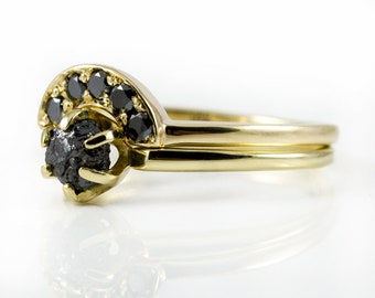14K Yellow Gold Ring Set - Black Raw and Finished Diamonds - Classic Solitaire Ring with Matching Band - Jet Black Uncut Diamonds