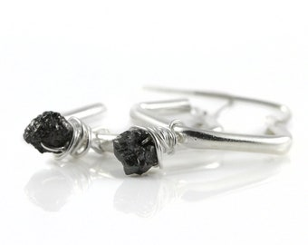 Dangle Earrings with Raw Diamonds - Sterling Silver Diamond Shape Hoops - Wire Wrapped Black Diamonds Uncut Unfinished - Hoop Earrings