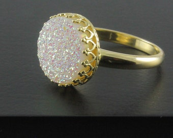 14K Gold Druzy Ring - White Druzzy Stone - Drusy Quartz Ring - Bezel Set Ring