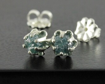 Buttercup Earrings with 1.0 Carat Blue Raw Diamonds - Sterling Silver Posts - Natural Uncut Diamonds - Conflict Free - Ear Studs