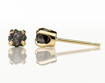 4.0mm 14K Yellow Gold Stud Earrings with Black Diamonds - Rough Uncut Diamonds - Gold Post Ear Studs - April Birthstone