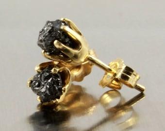 14K Gold Post Earrings - Raw Diamond Earrings - 5mm Ear Studs - Black Rough Diamonds - Gold Earrings