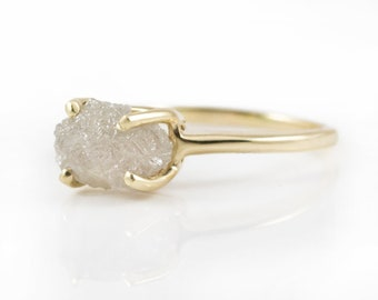 2.0CT Raq Rough Diamond Ring - 14K Yellow Gold Engagement Ring - Conflict Free Natural Diamond Ring - Oval White Raw Diamond