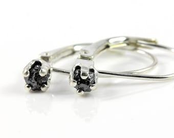Leverback Earrings in Sterling Silver - Rough Raw Black Diamonds - Natural Uncut Stones - Conflict Free - April Birthstone