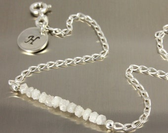 Raw Rough Diamond Bracelet - Silver Bracelet with White Diamonds and Initial Disk - Personalized Tag - Initial Bracelet, Monogram