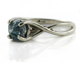 Blue Raw Diamond Ring -  1.0 Carat Rough Diamond Engagement Ring Infinity Design - 14K White Gold