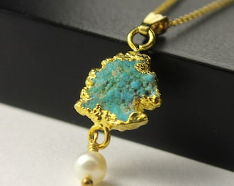 Turquoise and Pearl Necklace - Mother's Day Gift - 22K Gold Vermil Pendant - Rough Turquoise Gemstone - December Birthstone