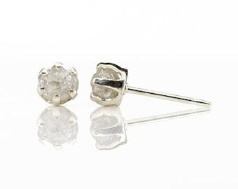 4mm Rough Diamond Stud Earrings on Sterling Silver - White Uncut Raw Diamonds - April Birthstone - 6-prongs Ear Studs