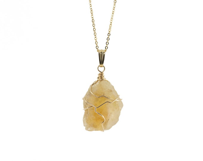 Featured listing image: Citrine Pendant Necklace 14K Gold Filled - Yellow Citrine Gemstone - Wire Wrapped Rough Gemstone Jewelry - Birthstone Gift