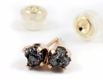 14K Yellow Gold Stud Earrings with Black Diamonds - Rough Uncut Diamonds - Gold Post Ear Studs - April Birthstone