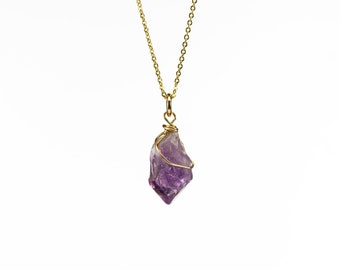 Natural Amethyst Necklace 14K Gold Filled - Purple Amethyst Gemstone Pendant - Wire Wrapped Rough Gemstone Jewelry