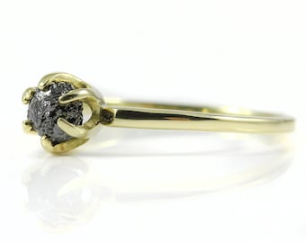 14K Yellow Gold Solitaire Ring with Rough Diamond - Black Raw Uncut Diamond - Classic Engagement Ring