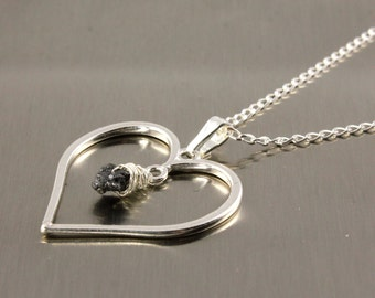 Heart Necklace - Rough Diamond - Sterling Silver Heart Charm - April Birthstone Gift Idea - Romantic Gift -Valentine's Gift - Gift For Her