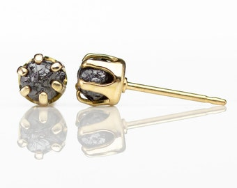5mm Gold Post Earrings - 14K Gold Filled Ear Studs - Black Rough Diamonds - Raw Uncut Conflict Free Diamonds - April Birthstone