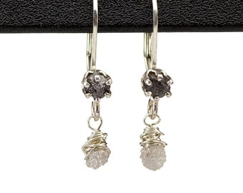 Leverback Earrings with Rough Diamonds Sterling Silver - Black and White Diamonds Conflict Free - Wire Wrapped Dangle Earrings
