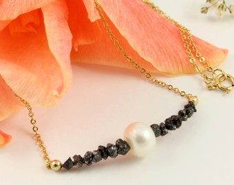 Gold Necklace with Pearl and Raw Diamonds - Mother's Day Gift - Uncut Rough Diamonds - Freshwater Pearl - April Birthstone