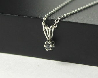 Raw Uncut Diamond Necklace in Sterling Silver - Rough Diamond Stone - Evening, April Birthstone
