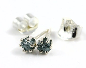 3mm Sterling Silver Studs with Blue Rough Diamonds - Tiny Post Earrings - Rare Blue Uncut Raw Diamonds - Conflict Free