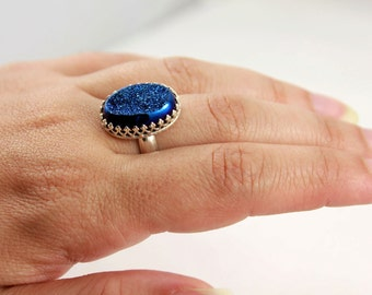 Natural Druzy Quartz Ring - Oval Sterling Silver Ring - Gallery Wire Bezel Set Ring - Cobalt Drusy Stone