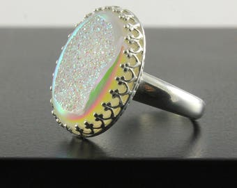 Druzy Quartz Ring - Oval Silver Ring - Druzzy Bezel Set - Opal Drusy Quartz Stone - April Birthstone