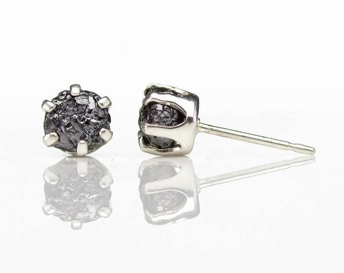 Featured listing image: 5mm Silver Stud Earrings with Rough Diamonds - Jet Black Conflict Free Raw Diamonds Large - Post Earrings - April Birthstone