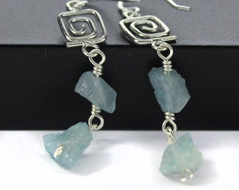 Rough Aquamarine Earrings Sterling Silver - Mother's Day Gift - Irregular Shape Earrings - Raw Aquamarine Stones - March Birthstone
