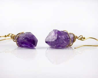 Natural Amethyst Earrings 14K Gold Filled - Purple Amethyst Gemstone - Wire Wrapped Rough Gemstone Jewelry