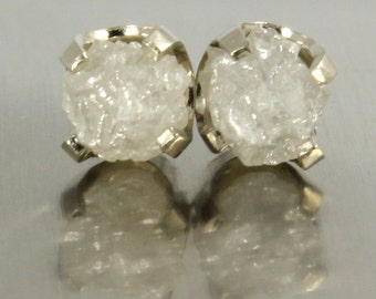 14K White Gold Studs - Extra Large White Diamonds - Uncut Raw Rough Diamonds - Natural Conflict Free Diamonds - Gold Posts