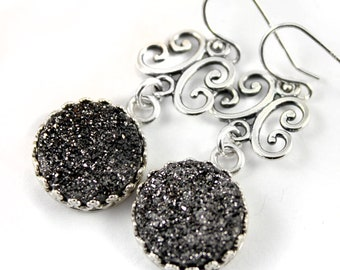 Filigree Earrings Sterling Silver - Mother's Day Gift - Druzy Earrings - Black Drusy Quartz Earrings - Bezel Set Earrings