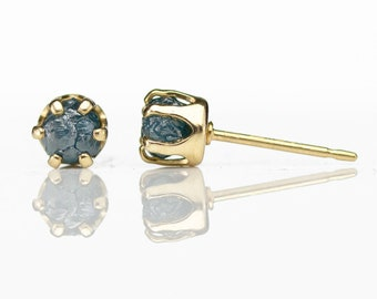 5mm Gold Ear Studs - 14K Gold Filled Post Earrings - Blue Raw Rough Diamonds - Uncut Conflict Free Diamonds - April Birthstone