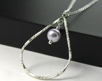 Lavender Pearl Necklace - Hammered Textured Teardrop Necklace - Sterling Silver Double-sided Pendant - Swarovski Crystal Pearl - Bridal Gift