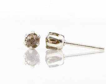 4mm Brown Rough Diamond Posts Sterling Silver - Uncut Unfinished Natural Diamonds - 6-prongs Ear Studs