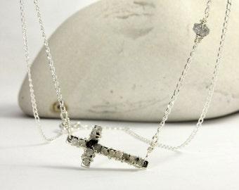 White Raw Diamond Necklace - Sideways Cross - Wire Wrapped Rough Diamonds on Silver - Celebrity Style Cross Necklace