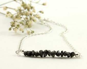 Rough Diamond Bar Bracelet - Mother's Day Gift - Black Raw Diamonds Bracelet - Bridesmaids Gift - April Birthstone Gift Idea