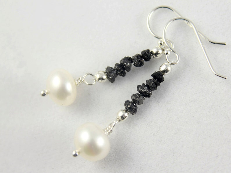 Rough Diamond Pearl Earrings Sterling Silver  Black Raw image 0