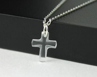 Swarovski Cross Necklace Sterling Silver - Small Crystal Clear Swarovski Crystal - Tiny Cross Necklace - Bridal Gift