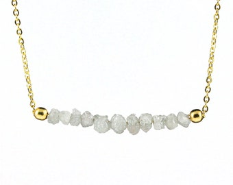 White Diamond Necklace in 14K Gold Filled - Mother's Day Gift - Rough Uncut Diamonds - Natural Unfinished Raw Diamonds - April Birthstone