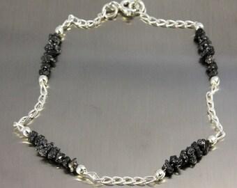 Multi-row Rough Diamond Bracelet - Silver Raw Diamond Bracelet - Uncut Unfinished Diamonds - April Birthstone