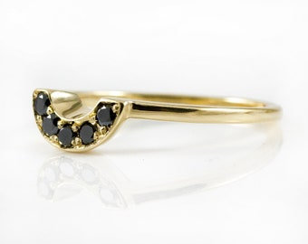 Custom Band with Polished Black Diamonds - 14K Gold  Wedding Band - Matching Band for Rough Diamond Ring - Yellow Rose White Solid Gold