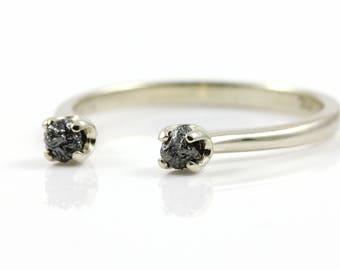 Open Design Ring with Rough Diamonds - 14K Gold Two Stone Ring - Dual Black Raw Diamonds